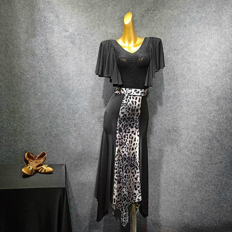 Nouvelle jupe moderne femme danse pratique robe Latin léopard motif lait Fiber danse jupe salle de bal robes de danse