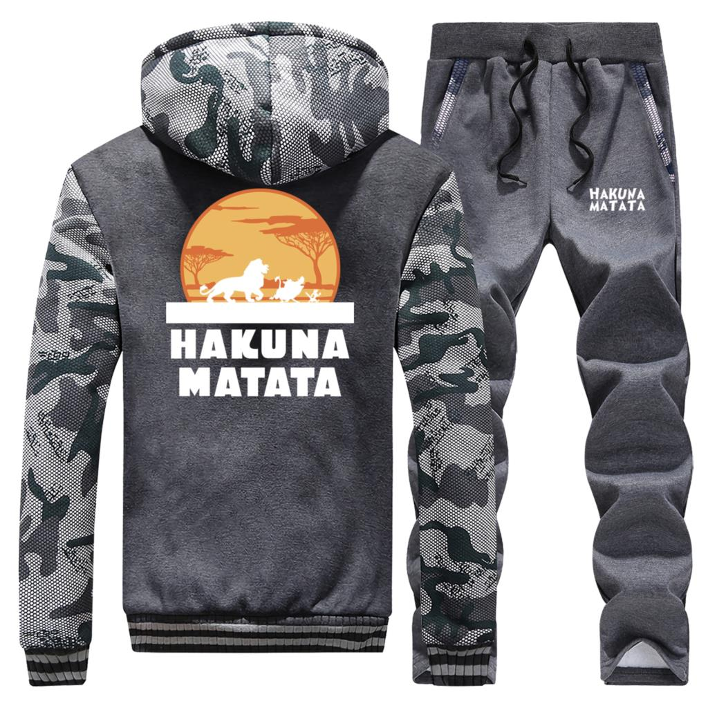 Cartoon Simba Hot Sale Winter 2019 Camouflage Hoodie Men The Lion King Suit Warm Jacket Sportswear Coat Thick+Pants 2 Piece Set
