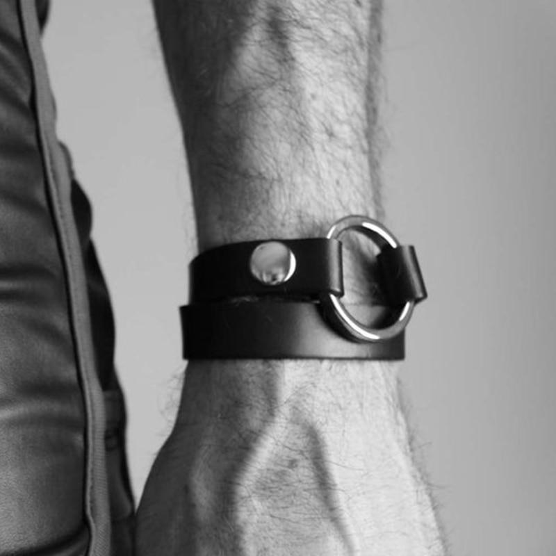 Мужская портупея для фетиша, японские аксессуары в стиле Харадзюку, готический панк, мужской браслет на руку из искусственной кожи, чокер, о...