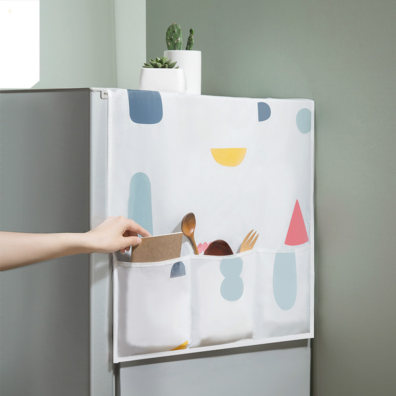 Refrigerator cover dust cover storage bag rack home fabric hanging bag waterproof freezer top cover home fabric rack LL7251711 image