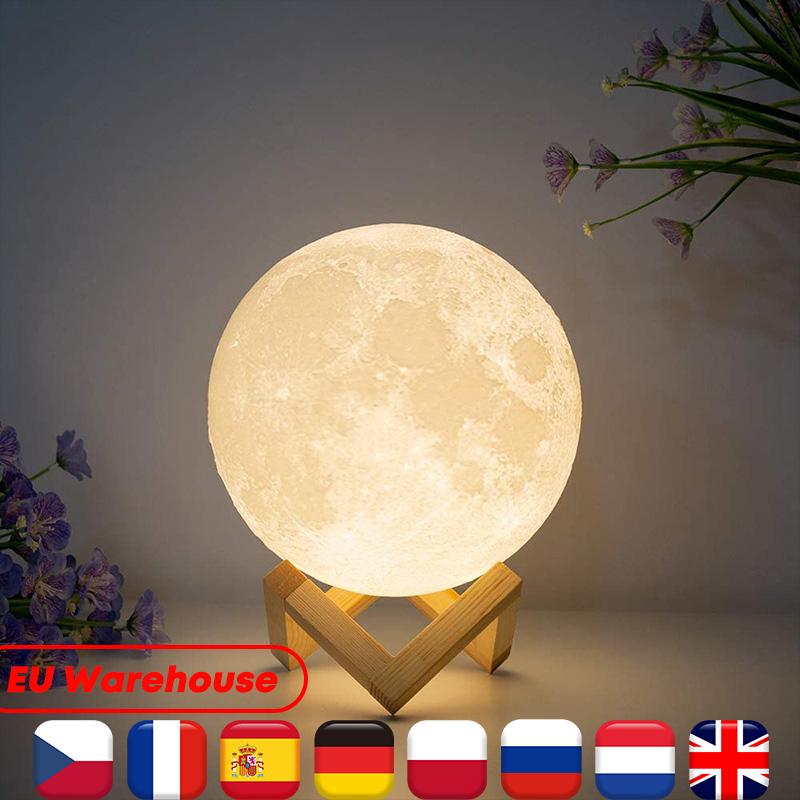 Kid Tricolor Creative Moonlight Lamp Touch Control Rechargeable 3D Print LED Light Decor Moon For Home Bedside Children'S Lights
