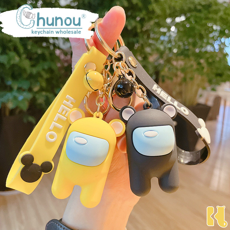 Game Among Us Keychain Anime Amongus PVC Silicone Pendant Cartoon Keyring Gift
