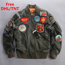 Chaqueta de cuero genuino de la Fuerza Aérea de los hombres chaqueta de vuelo del piloto verde del ejército abrigos militares de la vendimia para hombre de talla grande 6XL DHL/TNT gratis