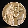 1pc Gold Überzogene Ägypten Tod Protector Anubis Münze Kopie Münzen Ägyptischer Gott Des Todes Gedenk Münzen Sammlung Geschenk