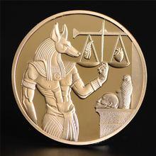 1pc banhado a ouro egito death protector anubis moeda copiar moedas deus egípcio da morte moedas comemorativas coleção presente