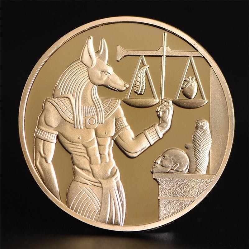 1pc plaqué or egypte mort protecteur Anubis pièce copie pièces égyptien dieu de la mort commémorative pièces Collection cadeau