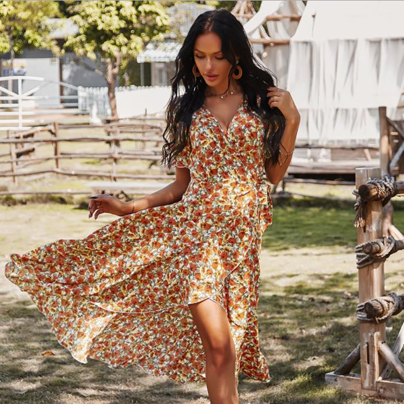 2021 Fashion Women Summer Cotton Print Short Sleeves A-line Skirt High Waisted Sundress Party Drawstring Holiday Long Dresses