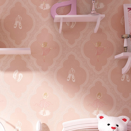 Environmentally Friendly Cute Warm CHILDREN'S Room Wallpaper Modern Thick Nonwoven Fabric Ballet GIRL'S Bedroom Cartoon Wallpape