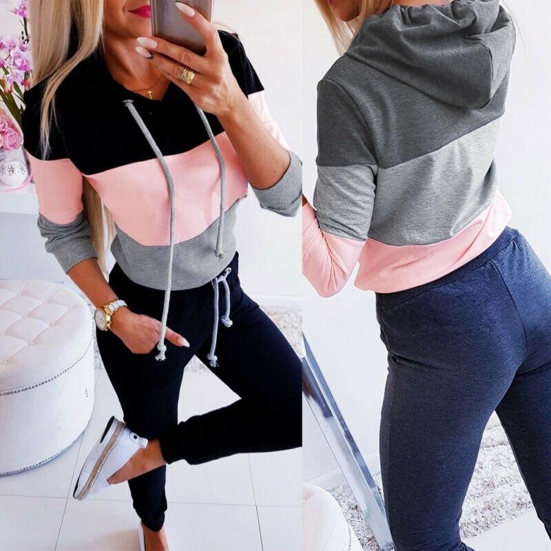 Women Patchwork Hooded Long Sleeve Sweatshirt Hoodie Pullover Jumper Top