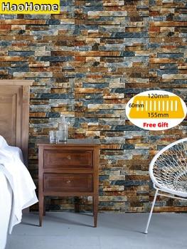 HaoHome Peel and Stick Faux Brick Wallpaper Multi Color Vinyl Self Adhesive Decorative Imitation Wall Paper