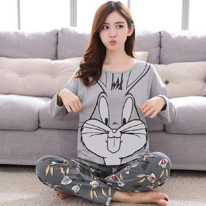 Spring And Autumn Long Sleeve Buck Teeth Rabbit Gray Bugs Bunny Pajamas Women's Qmilch Thin Home Wear Plus-sized Set