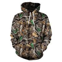 Кленовые листья камуфляж 3D толстовки для мужчин женщин Открытый Рыбалка Кемпинг Охота Одежда унисекс пальто с капюшоном топы