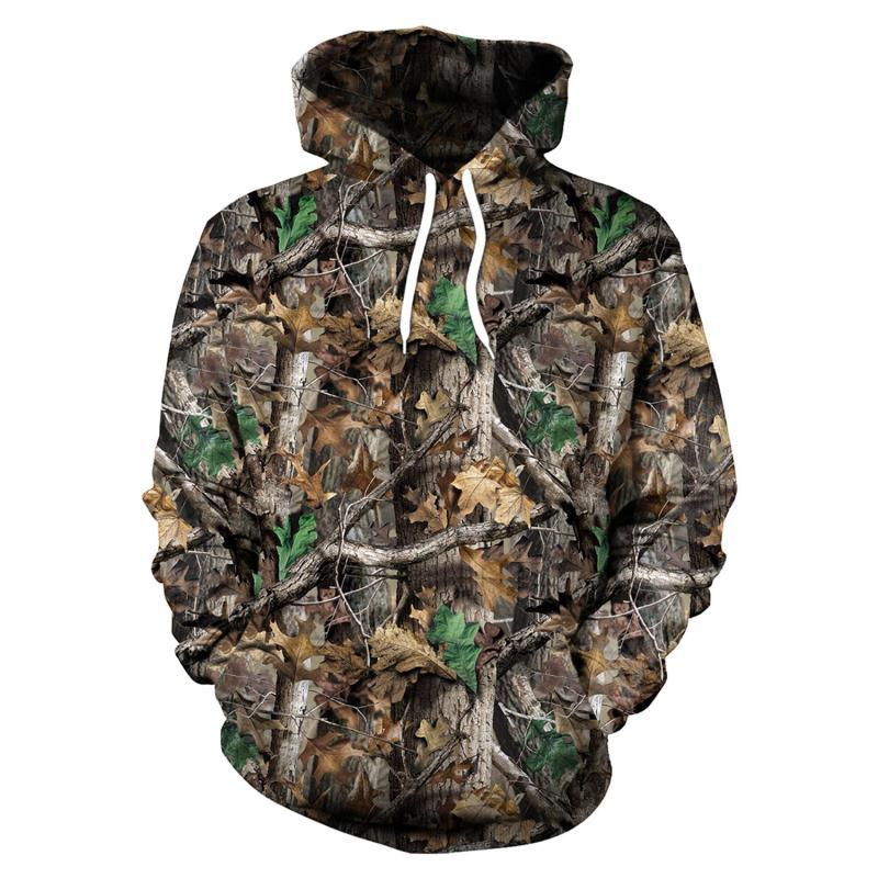 Maple Leaves Camouflage 3D Hoodies Men Women Outdoor Fishing Camping Hunting Clothing Unisex Hooded Coats Tops
