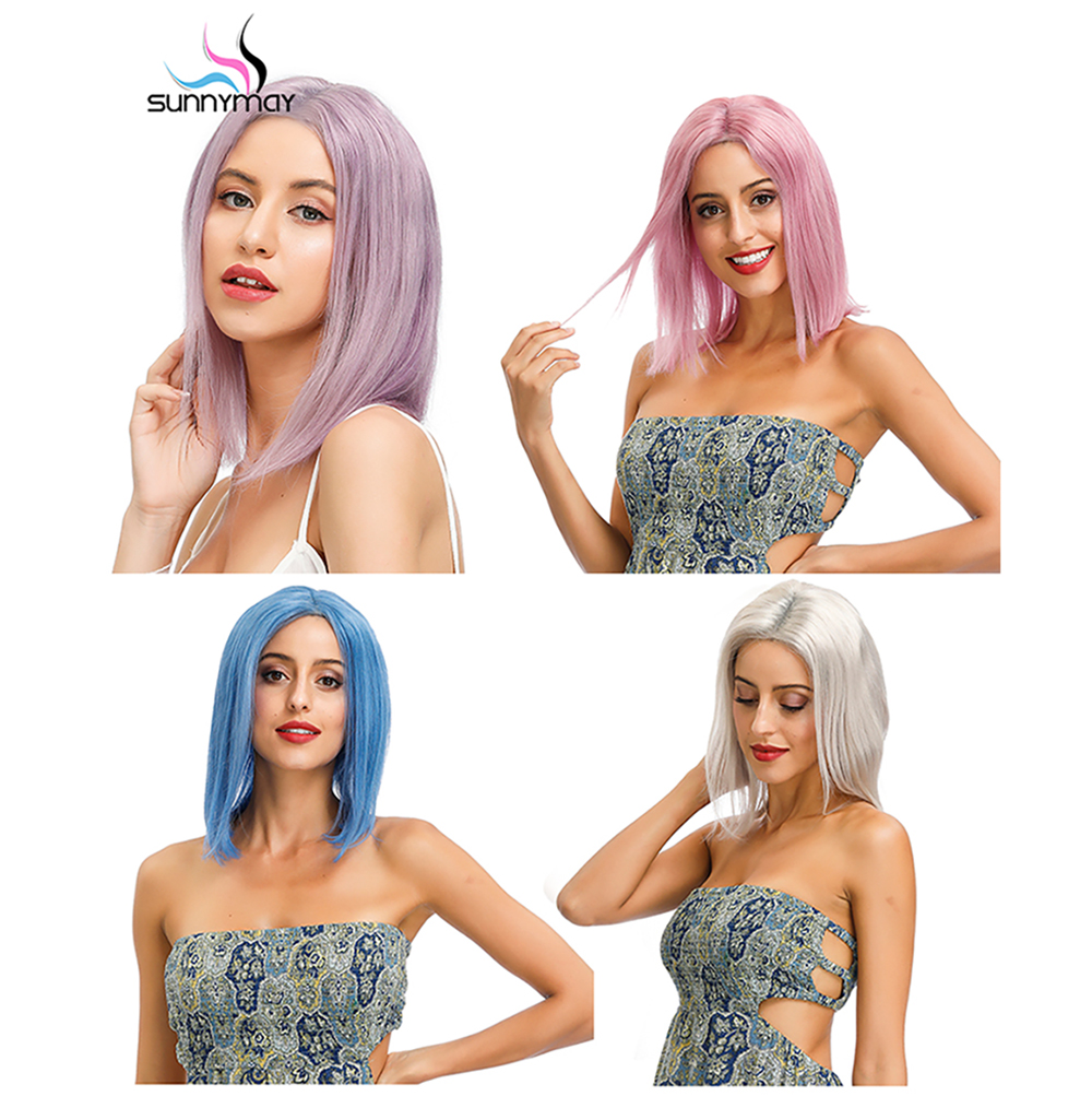 Sunnymay 13x4 Colored Lace Front Human Hair Wigs Short Bob Wig Remy Hiar Light Grey Blue