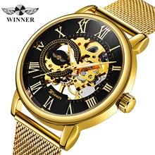 Vencedor oficial da marca superior de luxo ultra fino ouro masculino relógio mecânico malha cinta esqueleto dial masculino clássico negócios relógio de pulso