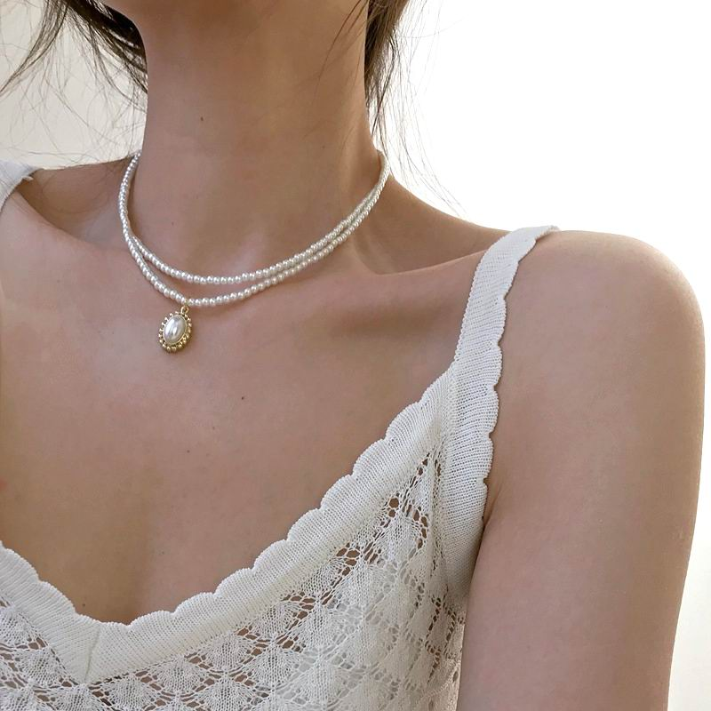Etrendy New Mini Pearl Choker Necklace For Women Double Layers Elegant Simple Jewelry Collares Gifts
