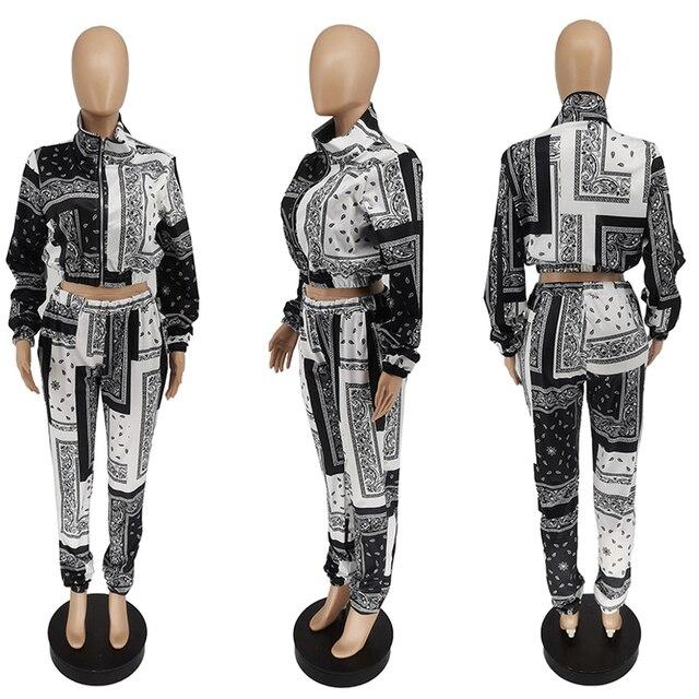 Bandana imprimir conjunto de dos piezas casual estampado de Cachemira con cremallera manga larga Chaqueta corta Tops pantalones traje de calle de chándal 6