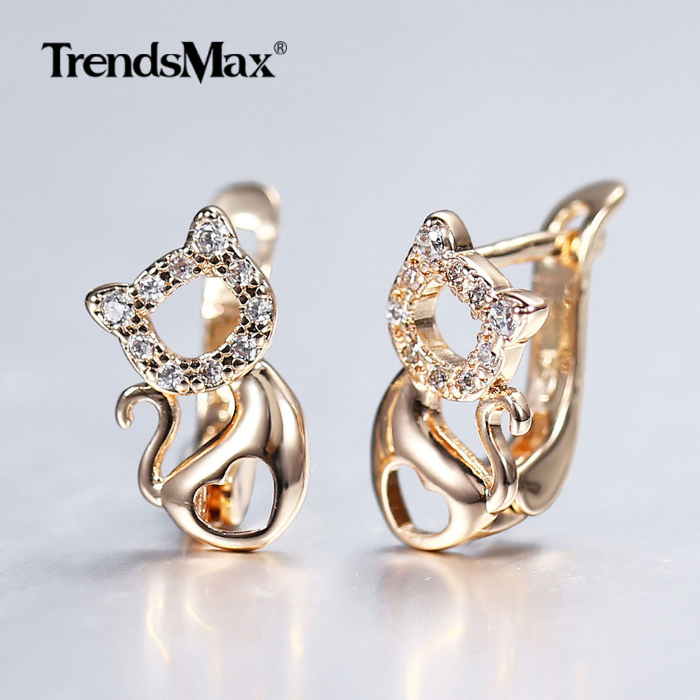 585 Rose Gold Cute Little Cat Kitty Pet Earrings For Women Girl Heart Paved White Cubic Zircon Earrings Birthday Gift GE293