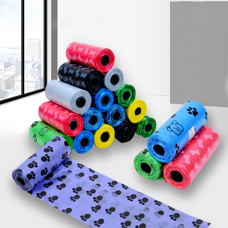 1 Roll/15 Pcs Printing Cat Poop Bags For Outdoor Dog Supply Waste Pick Up Home Clean Refill Garbage Bag Cleaning Pet Products