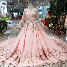 LS169901 2 pink flowers evening dresses high neck long tulle sleeves lace up back muslim girls pageant party dresses custom size