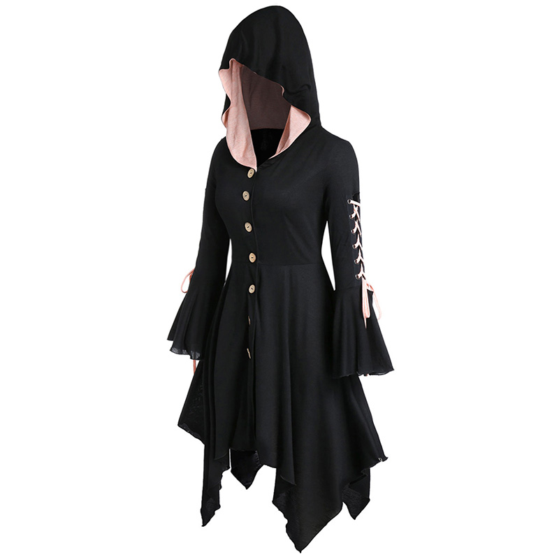 ROSEGAL Plus Size Hooded Lace Up Handkerchief Halloween Coat Pleated A-Line Women Long Gothic   Trench   Asymmetric Button Coat