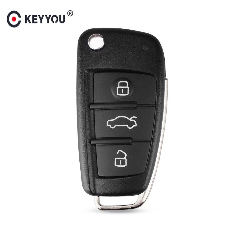 KEYYOU Fob Shell Key-Fob-Case-Replacement Car-Key-Case Folding Remote-Flip 3-Button Audi