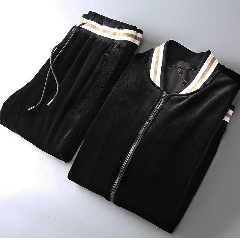 Mens Sets Velvet (sweatshirts+pants) Luxury Stand Collar Thick Men Hoodies Fashion Elastic Waist Man Pants Plus Size 5xl
