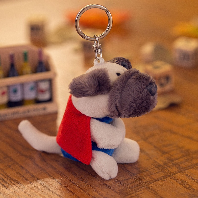 5 Pcs Funny Cute superman Dog Dolls Puppy Bag Pendant Keychain Kid Toy Gift  Christmas gift Keychain Gift Free Shipping