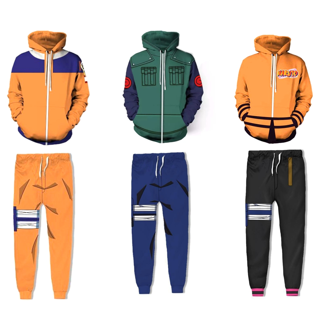 Naruto 3D Hoodie Shippuden Hokage Uzumaki Costume Cosplay Pullover Hoodies Jacket Men Women Naruto Sweatshirt Pant Clothes Sets