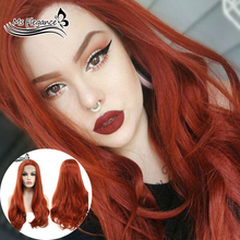 MS FLEGANCE Red Synthetic Hair Lace Front Wig with Natural H