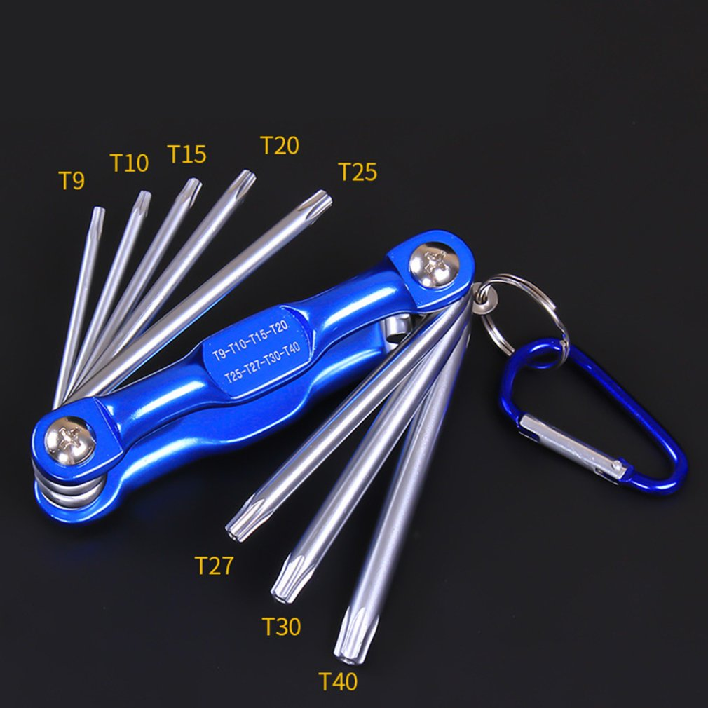 8Pcs High Quality Portable Folding Key Hex Wrench Set Tamper Proof Metric Inch Plum Hex Driver Folding Wrench Screw Repair Tools