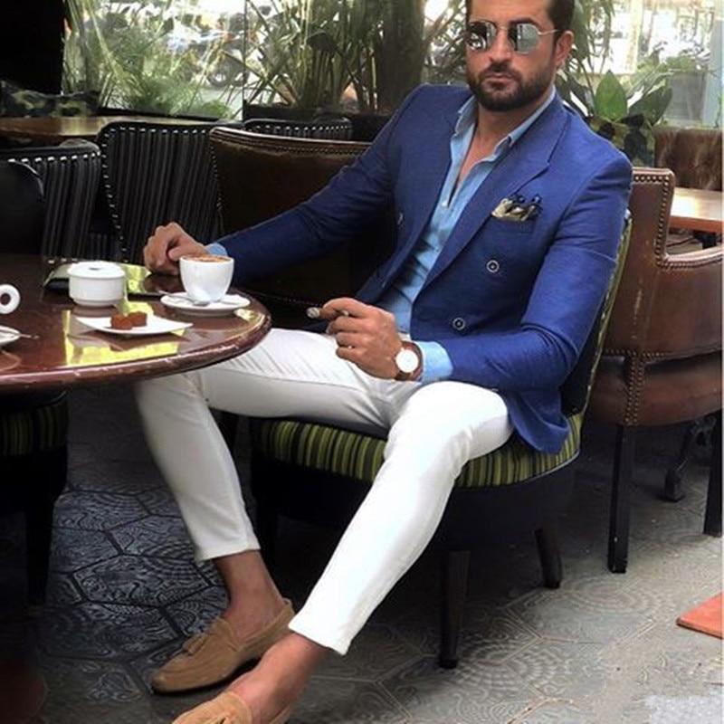 Royal Blue Men Suits For Wedding 2Pieces Business Suit Blazer Petal Lapel Costume Homme Party Suits(Bluejacket+White Pant)