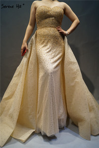 Image 5 - Dubai  Red Sweetheart Sexy Evening Dresses Full Crystal Luxury Fashion With Train Evening Gowns BLA6637