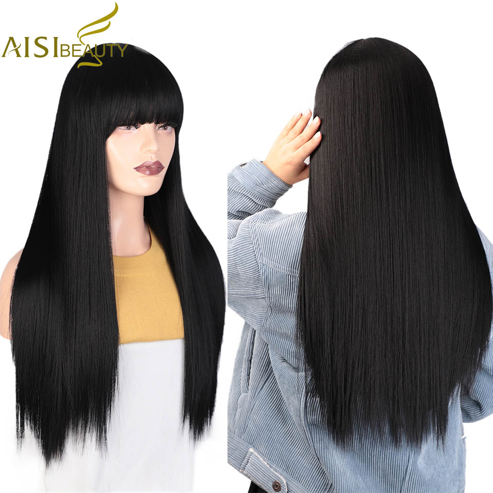 AISIBEAUTY Women's Wig With Bangs Synthetic Wig Long Straight Wigs Heat Resistant Fiber Hair Red/Black/Blonde Natural Hair