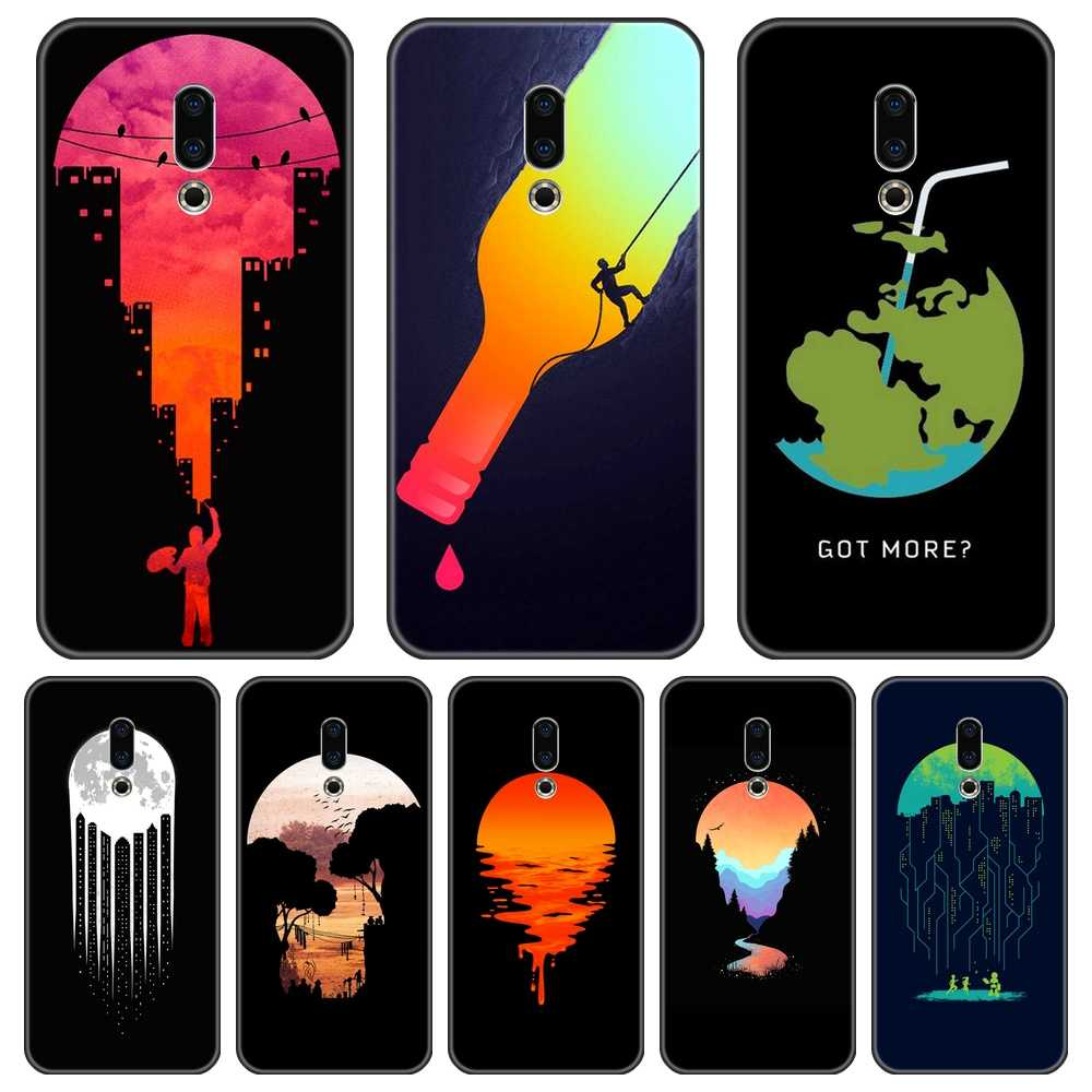 Telefoon Geval Voor Meizu 15 Lite 16 Plus 16th 16x Case Silicone Black Art Star Maan Aarde Back Cover Voor meizu U10 U20 Pro 6 7 Plus