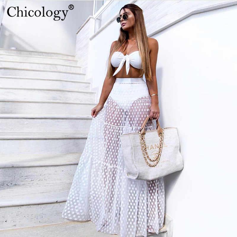 Chicology в горошек посмотрите на дешевое Сетчатое Сексуальное Женское юбка Макси-Тюль 2019 лето осень женская уличная винтажная одежда с высокой талией