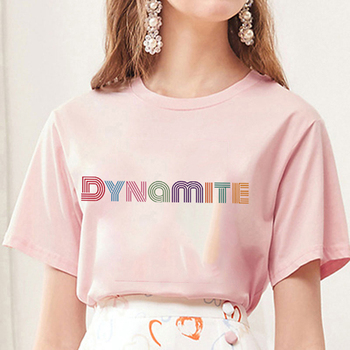 2020 new album DYNAMITE print T-shirt Kpop Korean style short sleeve cute Korean casual hip-hop short sleeve top 1