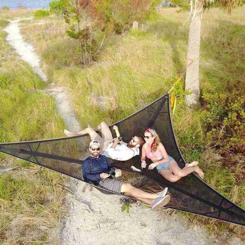 2/3M Camping Hammock Triangle Aerial Mat Multi-Person Hammock Net Outdoor Portable Hanging Bed Garden Furniture Freeshipping