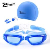 Cmh óculos de proteção anti nevoeiro grande caixa de óculos de mergulho galvanizados miopia adulto feminino com earplug óculos de natação à prova dwaterproof água|Óculos de segurança| |  -