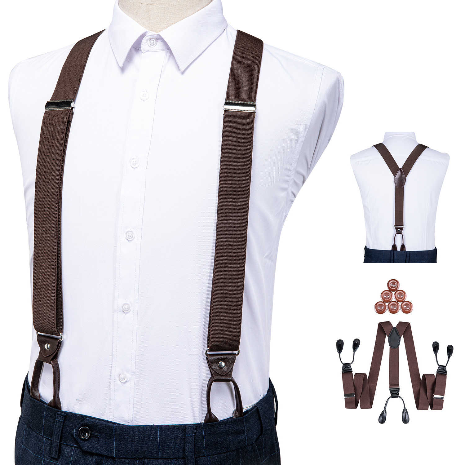 Suspenders For Men Leather Trimmed Button End Elastic Tuxedo Y Back Adjustable Mens Fashion Suspenders Pant Braces Brown DiBanGu