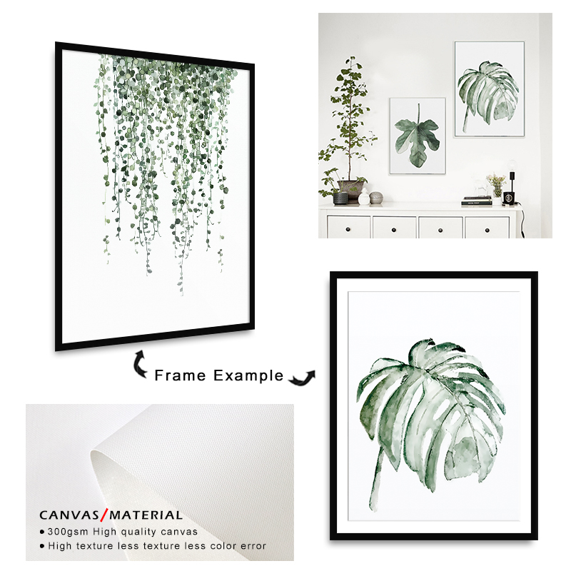 H8ed685cd73ca4f06901e1b3254d03e4a5 ART ZONE Tropical Plant Leaves Canvas Art Print Poster Nordic Green Plant Wall Pictures Kids Room Large Painting No Frame