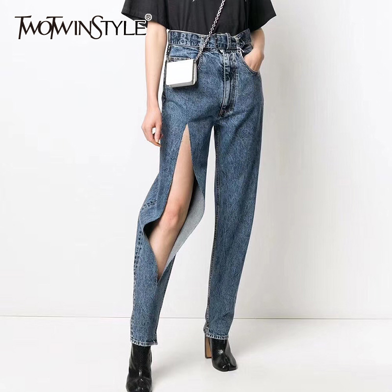 TWOTWINSTYLE Casual Denim Women Full Length Pants High Waist Ripped Hole Asymmetrical Pencil Pant For Female Fashion Clothes New
