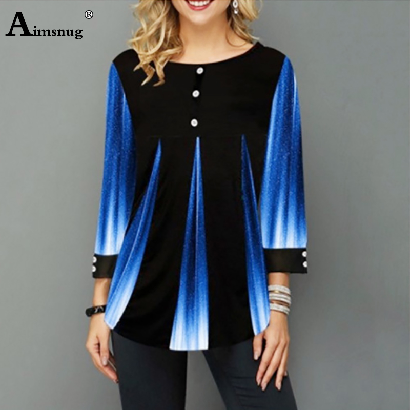 Aimsnug 2020 Women New Summer Street Hipster Print Blue Tops 3/4 Sleeve Loose Ladies Tee Shirt Plus Size 4xl 5xl Female T-Shirt