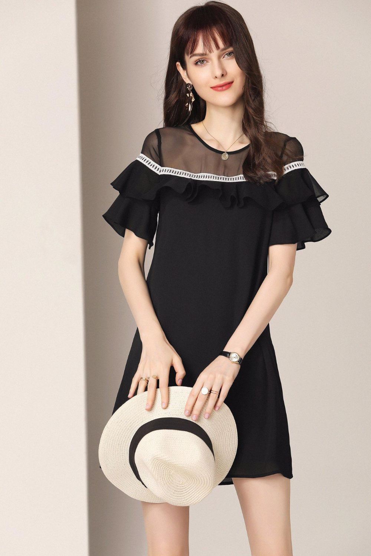 2019 Новое высококачественное крутое летнее платье средней длины с круглым вырезом, гофрированное ТРАПЕЦИЕВИДНОЕ ПЛАТЬЕ свободного кроя, роскошное Брендовое платье