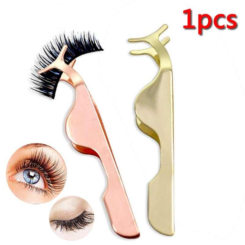 1 PCS Beauty Tools Multifunctional False Eyelashes Stainless Auxiliary Eyelash Curler Tweezers Clip