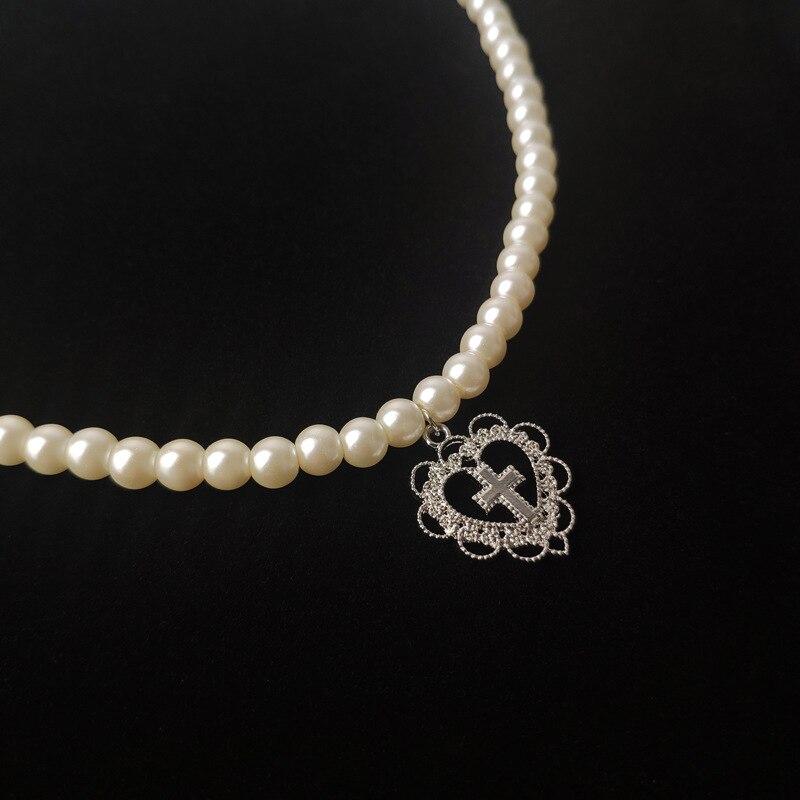 Цвета: золотистый, серебристый Цвет крестик Love Heart ожерелье с подвеской в форме сердца цветка жемчужное ожерелье 3-5 мм нить жемчуга ожерелье ...