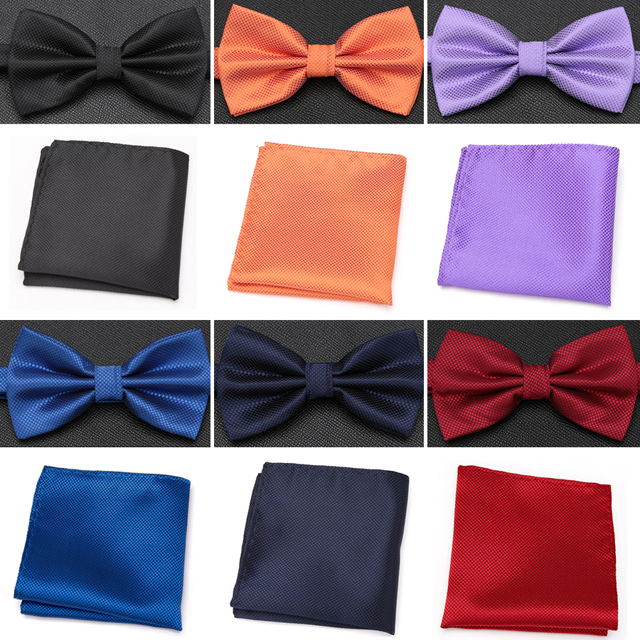 Men Bowtie Handkerchief Tie Set Fashion Butterfly Party Wedding Ties For Men Candy Solid Color Bowknot Accessories Gifts Bow Tie