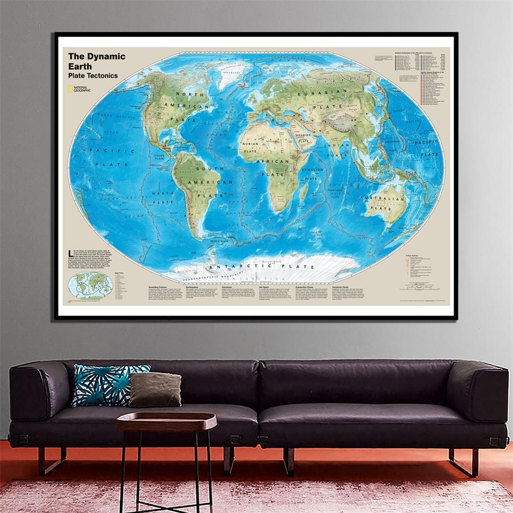 24x36 Inches The Dynamic Earth Plate Tectonics With Tectonic Features For Bedroom Wall Decoration
