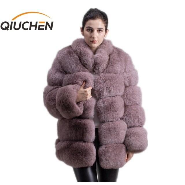 QIUCHEN PJ8142 2020 الشتاء 70 سنتيمتر النساء ريال فوكس معطف الفرو مع الثعلب الفراء طوق طويلة الأكمام معطف حقيقي الثعلب الزي جودة عالية