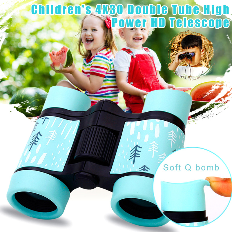 4x30 Binoculars Colorful Telescope Fixed Zoom Anti-skid Rubber Adjustable Children Toy Outdoor Fishing Hiking Telescope Gifts